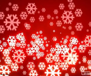 Red background snowflakes puzzle