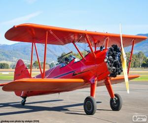 Red biplane aircraft puzzle