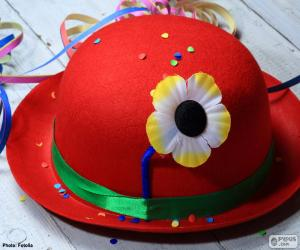 Red bowler hat with a flower puzzle