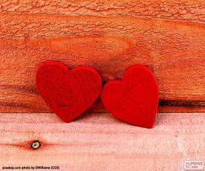 Red wooden hearts puzzle