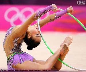 Rhythmic gymnastics with hoop puzzle