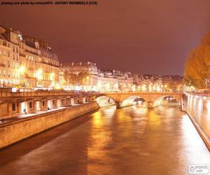 River Seine at night, Paris puzzle
