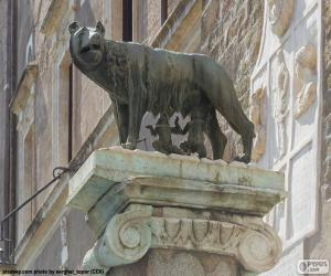 Romulus and Remus, the founders of Rome, suckled by a she-wolf puzzle
