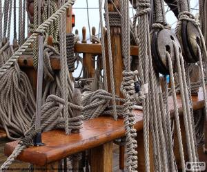 Ropes and pulleys of boat puzzle