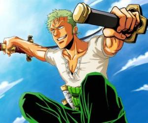 Roronoa Zoro is a swordsman specialist in combat with three swords puzzle