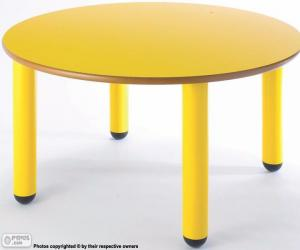 Round table and yellow puzzle