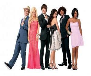 Ryan Evans (Lucas Grabeel), Sharpay Evans (Ashley Tisdale), Troy Bolton (Zac Efron), Gabriella Montez (Vanessa Hudgens), Chad (Corbin Bleu), Taylor (Monique Coleman) very elegant puzzle