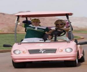 Ryan Evans (Lucas Grabeel), Sharpay Evans (Ashley Tisdale) in the golf car puzzle