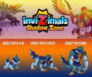 Sabretooth Cub, Sabretooth Scout, Sabretooth Max. Invizimals Shadow Zone. The guardian of the park who dreams of becoming a superhero puzzle