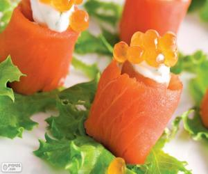 Salmon and Cheese Canapé puzzle