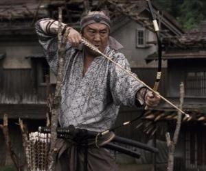 Samurai shooting his bow puzzle