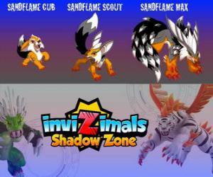 Sandflame Cub, Sandflame Scout, Sandflame Max. Invizimals Shadow Zone. These Invizimals have protected for centuries the tombs of the Pharaohs puzzle