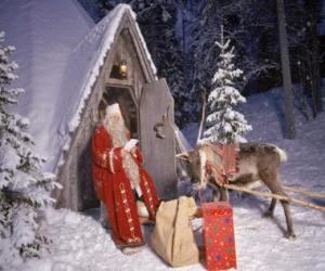 Santa at the door of his house with a reindeer and gifts puzzle