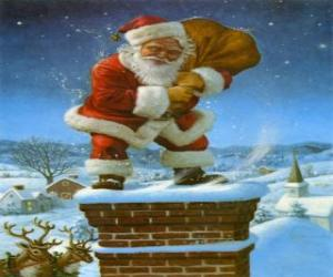 Santa Claus coming in through the chimney laden with many presents puzzle