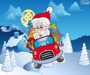 Santa Claus driving a car puzzle