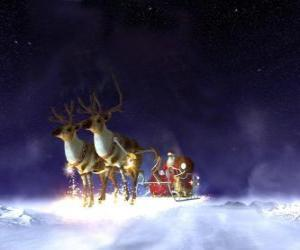 Santa Claus flying on his Christmas sleigh pulled by magical reindeers puzzle