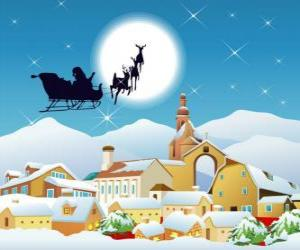 Santa Claus in his flying sleigh pulled by magic reindeer  puzzle