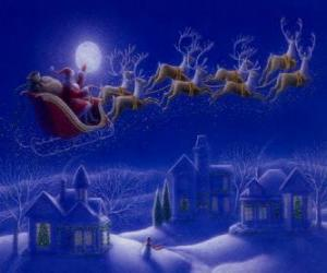 Santa Claus in his magic sleigh pulled by flying reindeer on Christmas night puzzle