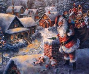 Santa Claus on the roof of a house next to a chimney puzzle