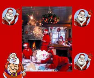 Santa Claus reading letters from the children he has received for Christmas puzzle