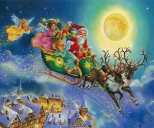 Santa Claus's sleigh flying over houses during Christmas Eve puzzle