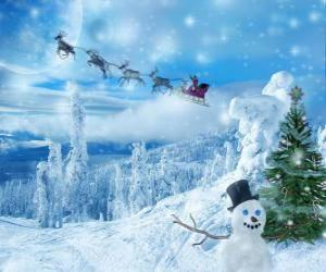Santa Claus waving from the magical sled loaded with Christmas presents puzzle
