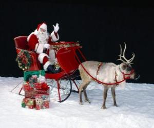 Santa Claus waving from the magical sled loaded puzzle