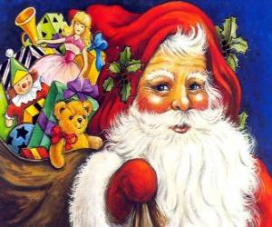 Santa Claus with a big bag full of toys to give to children at Christmas puzzle