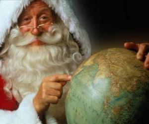 Santa Claus with a globe puzzle