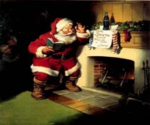Santa reading a note from fireplace puzzle