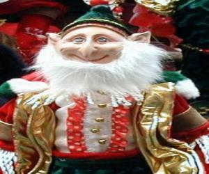 Santa's elf or christmas elf with pointy ears and pointy hat puzzle