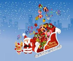 Santa's sleigh full of Christmas gifts puzzle