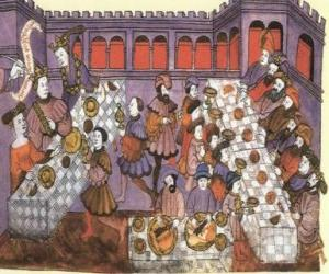 Scene of a medieval dinner in the salon of the palace or castle puzzle
