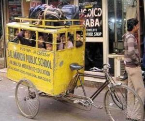 School bus in India puzzle