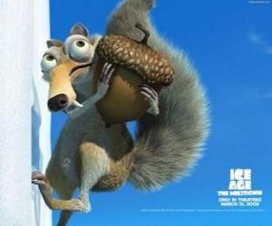 Scrat, the saber-toothed squirrel obsessed with the acorns puzzle
