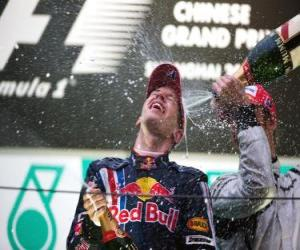 Sebastian Vettel in the podium puzzle