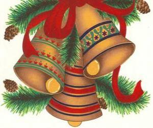 Set of three bells adorned with Christmas decorations puzzle