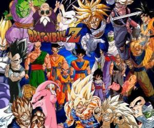Several characters from Dragon Ball puzzle