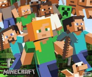 Several characters from Minecraft puzzle