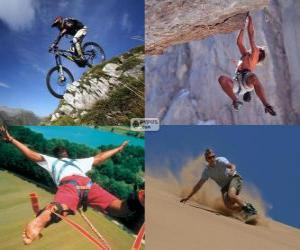 Several extreme sports and adventure puzzle