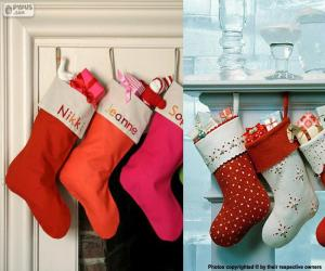 Several hanging Christmas stockings full of gifts puzzle