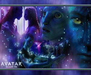 Several pictures of Jake and na'vi avatar Neytiri puzzle