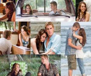 Several pictures of Miley Cyrus and Liam Hemsworth in his latest film, The Last Song. puzzle