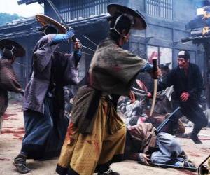 Several samurai fighting puzzle