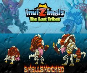Shellshocked, latest evolution. Invizimals The Lost Tribes. An eccentric magical creature who lives alone in the caves puzzle