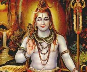 Shiva - The destroyer God in the Trimurti, the Hindu Trinity puzzle
