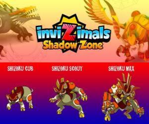 Shizoku Cub, Shizoku Scout, Shizoku Max. Invizimals Shadow Zone. A samurai pig that comes from feudal Japan, a warrior in armor puzzle