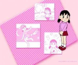 Shizuka Minamoto is the only girl in the group puzzle