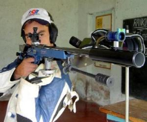 Shooter practicing the target shooting puzzle