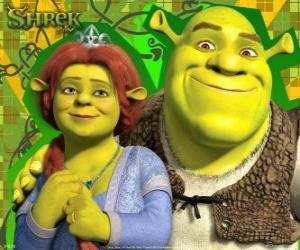 Shrek And Fiona In Love And Very Happy Puzzle & Printable ...